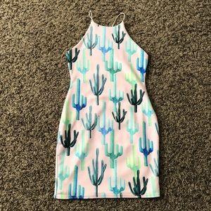 Missguided Cactus Scuba Dress READ DESCRIPTION